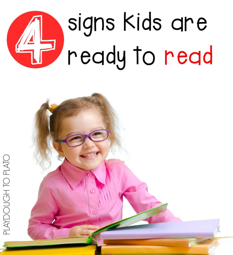 4 signs kids are ready to read. Super helpful to see all of the clues in one spot.