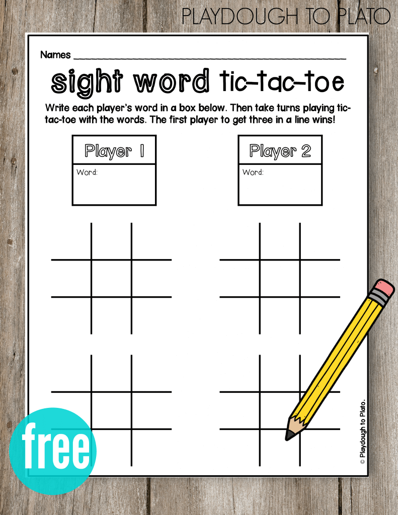FREE Sight Word Tic Tac Toe! Such a fun literacy center or sight word game for kids.