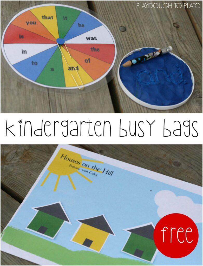 FREE Kindergarten Busy Bags