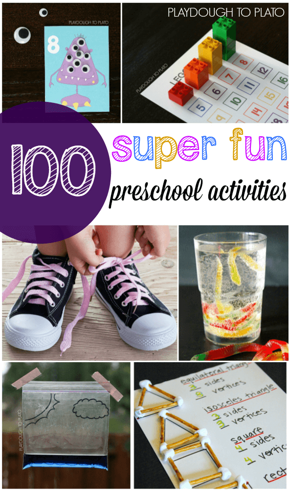 100+ Super Fun Preschool Activities. Cool science experiments, preschool math games, ABC games... lots of ideas!!