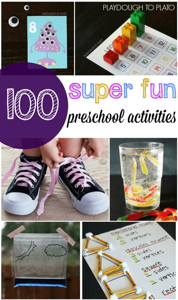 100+ Super Fun Preschool Activities. Cool science experiments, preschool math games, ABC games... lots of ideas!!