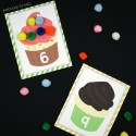 Cupcake counting and fine motor cards