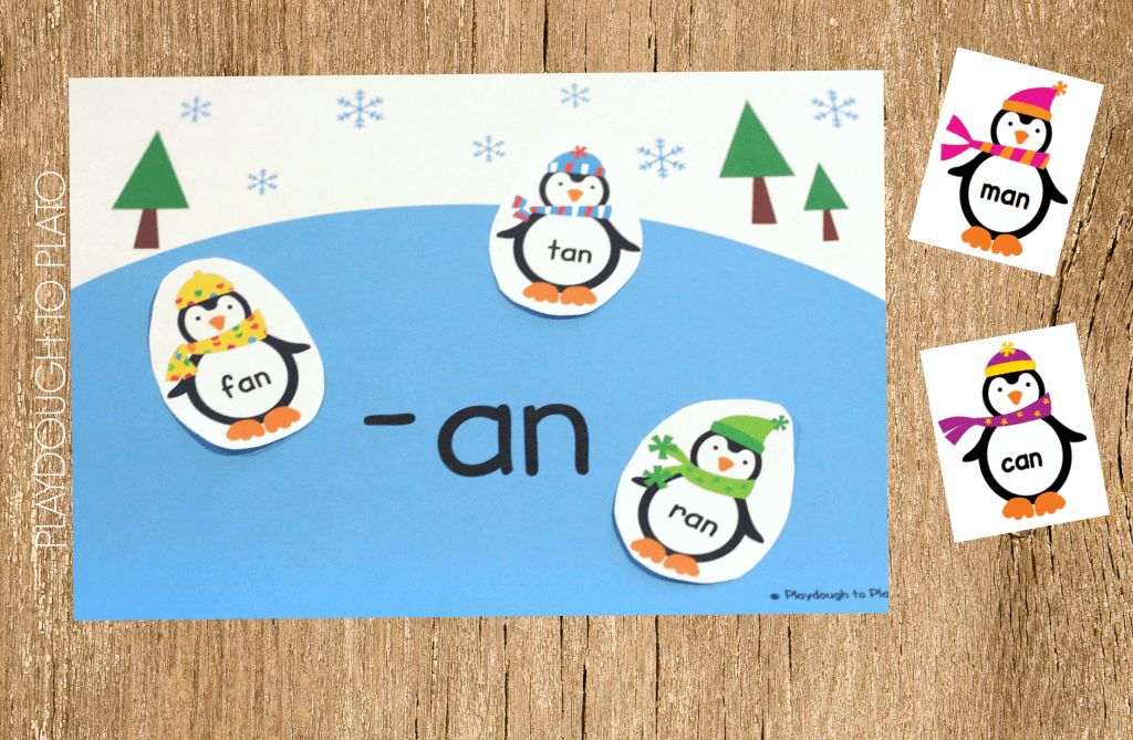 Super cute penguin word family sort.