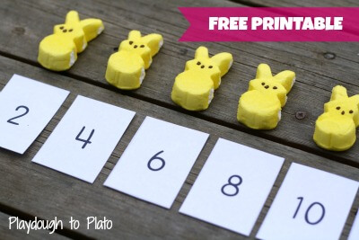 Easter Bunny Skip Counting! Simple way to teach kids how to count by twos. {Playdough to Plato}
