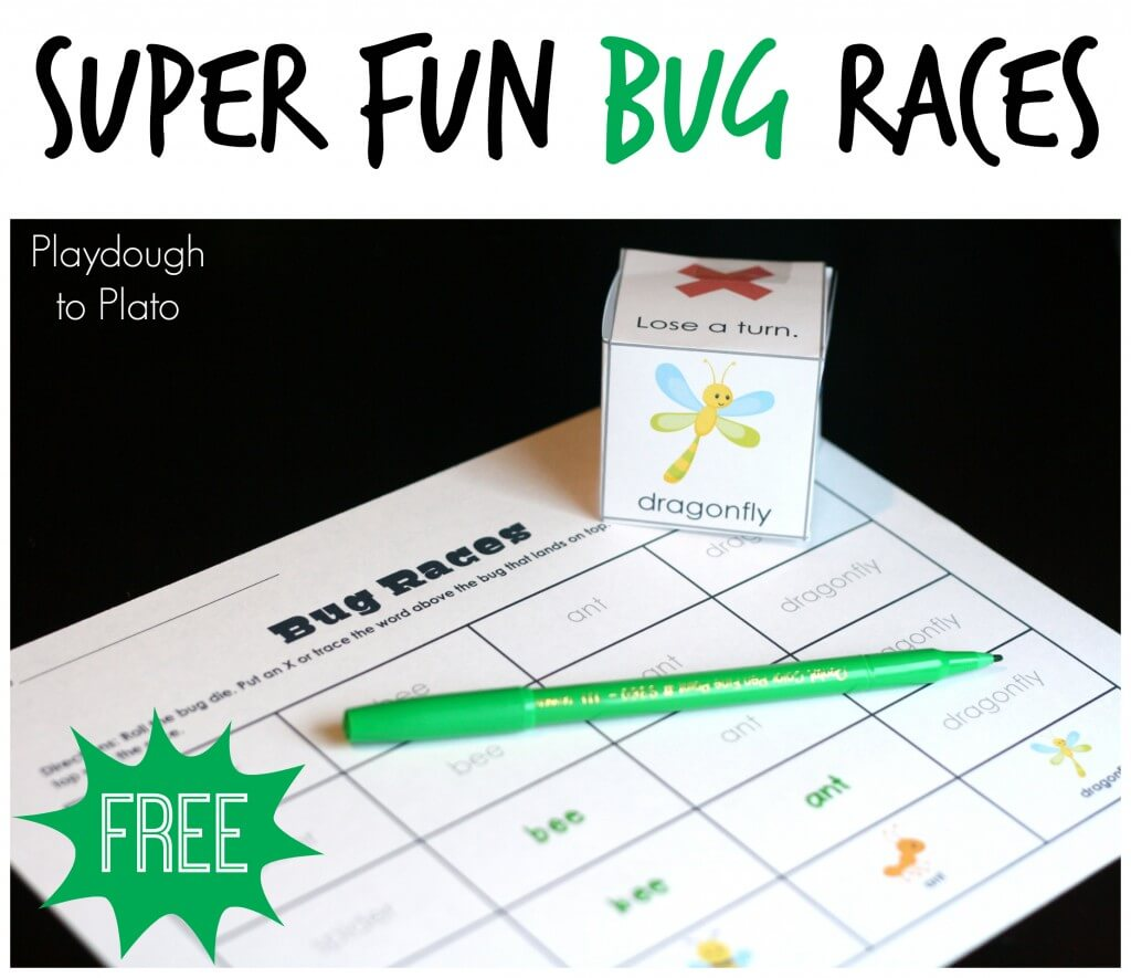 Super Fun Bug Races. Awesome free printable game from Playdough to Plato