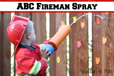 ABC Fireman Spray {Playdough to Plato}