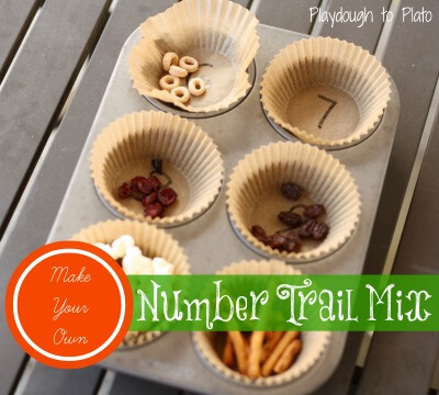math activities for kids, math snack trail mix numbers