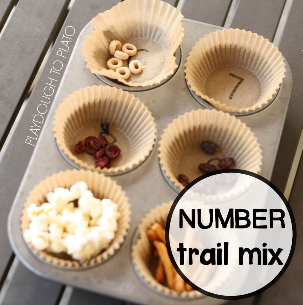 Number Trail Mix. Awesome number recognition activity for kids.