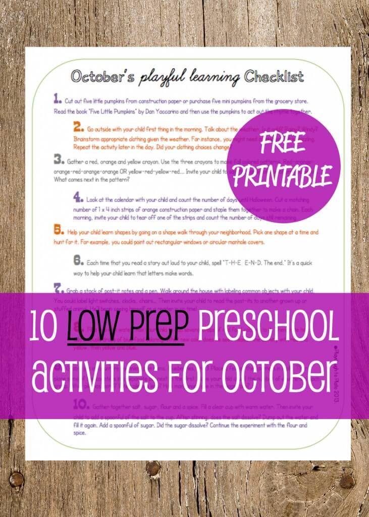 10 Low Prep Preschool Activities for October