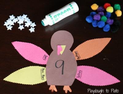 Thanksgiving Number Activity: Turkey Four Ways {Playdough to Plato}