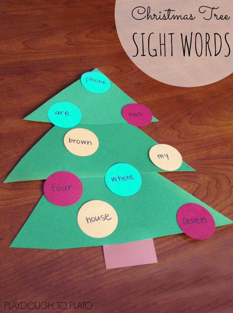 Sight Word Christmas Tree Game - Playdough To Plato