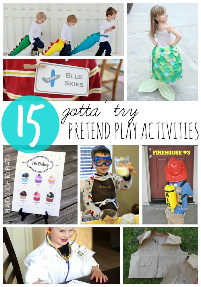 15 gotta' try pretend play activities. Make dinosaur tails, set up a pretend play airport, make an imaginary doctor's office and tons more.