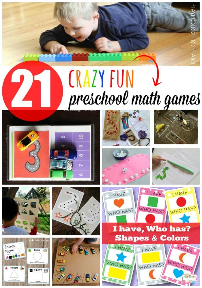21 Crazy Fun Preschool Math Games for Kids. Great ways to practice counting, number writing, shapes and measuring.