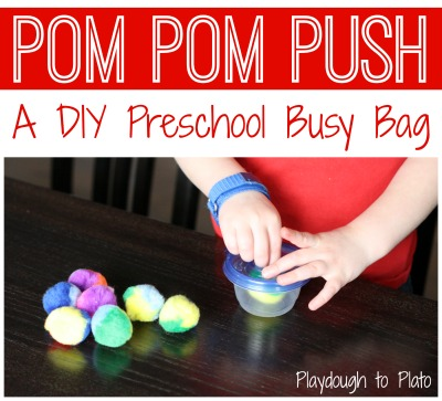 Preschool Busy Bag: Pom Pom Push