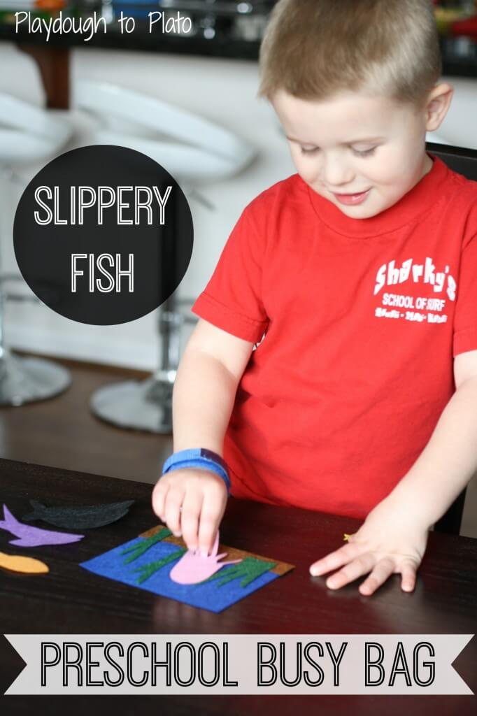 Preschool Busy Bag: Slippery Fish. {Playdough to Plato}