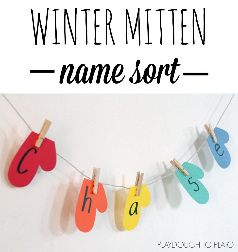 Fun name game for kids. Have kids pin their mitten letters in the right order. {Playdough to Plato}