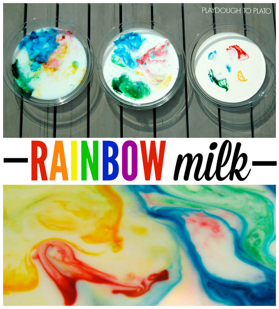 Fun science for kids!! Make magic swirling rainbow milk.