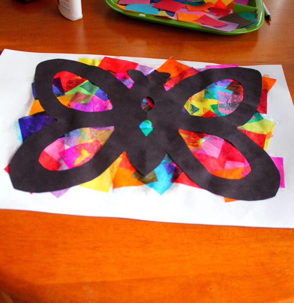 Tissue paper butterflies playdough to plato for Butterfly art and craft