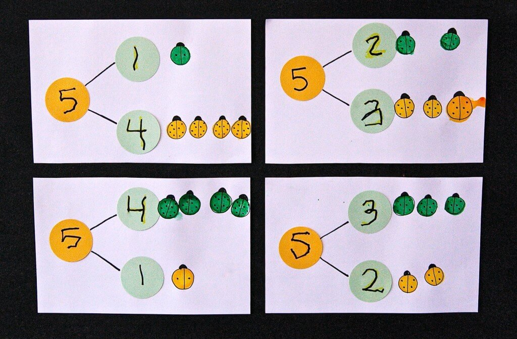 Fun, bug-themed way to teach kids about part-part whole numbers. {Playdough to Plato}