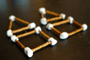 Such a fun way to learn shapes: Marshmallow Geometry. {Playdough to Plato}