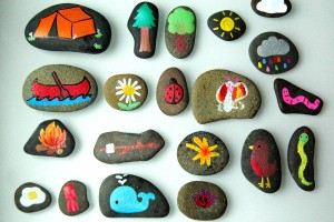 I love these!! Camping Themed Story Stones. {Playdough to Plato}