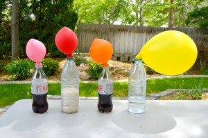 Fun science experiment for kids. Blow up a balloon without using your own air!! {Playdough to Plato}