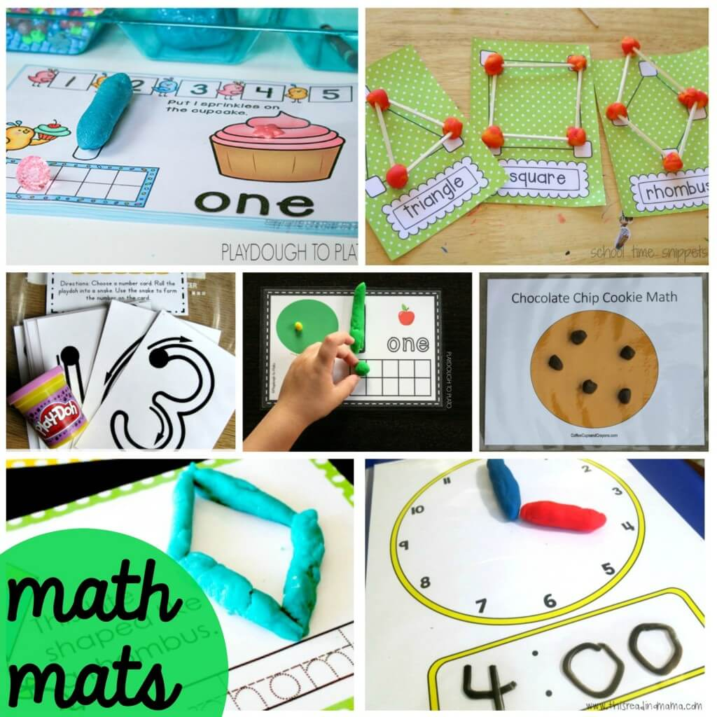 Fun math playdough mats for kids. They're all FREE!