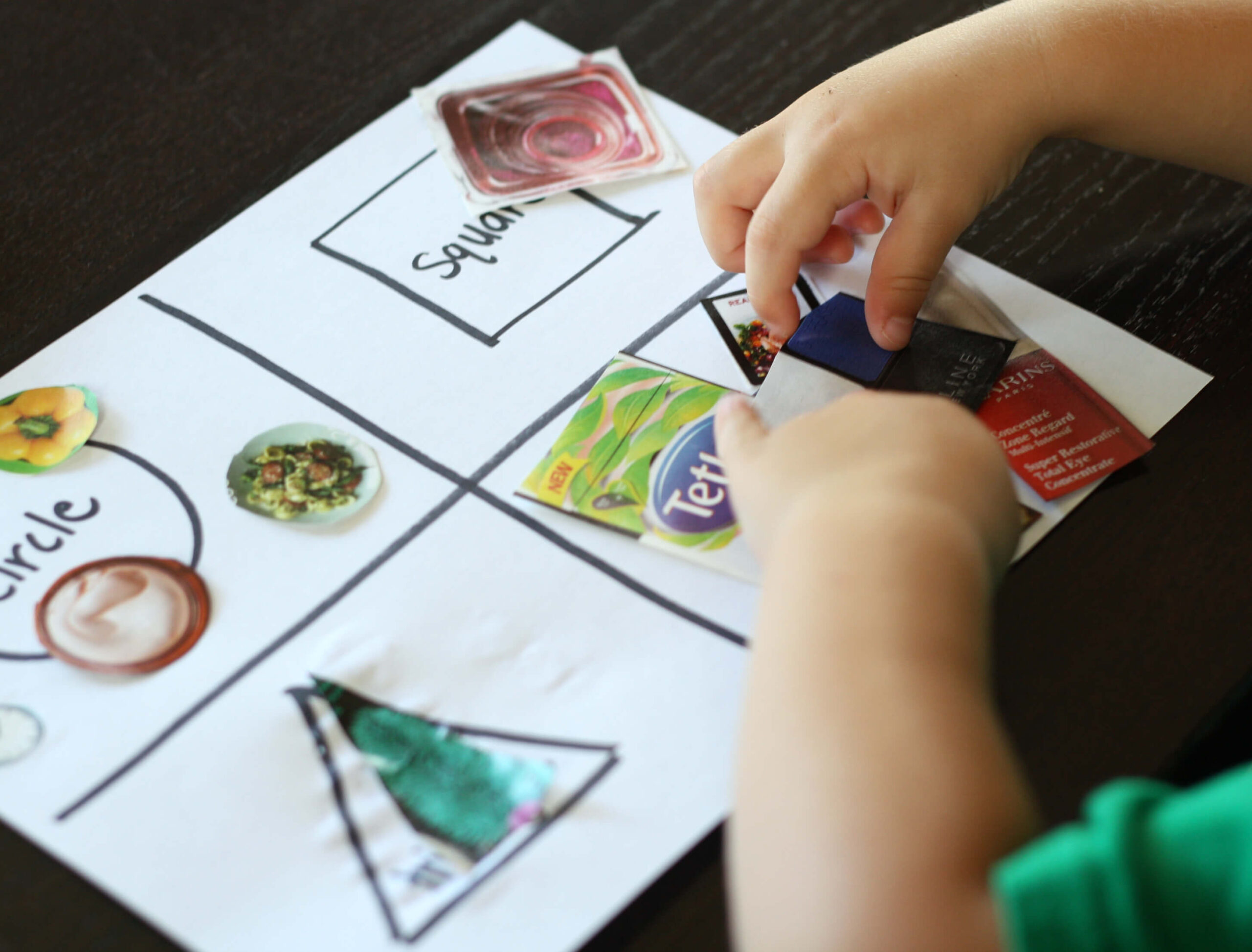 Cut and Paste Shape Game for Kids