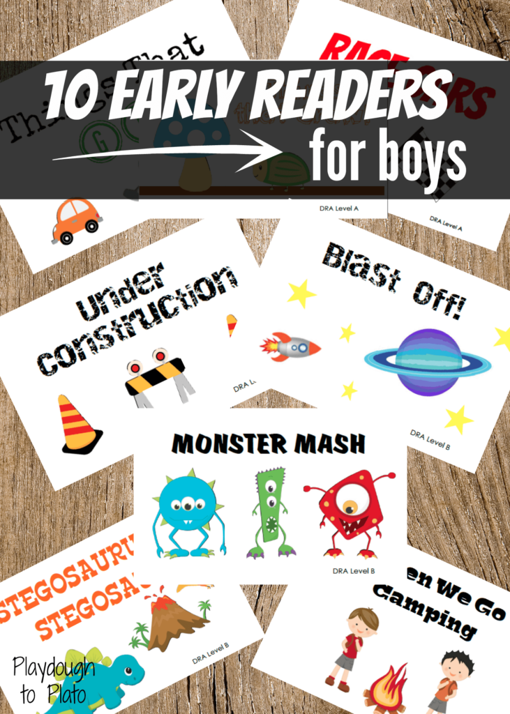 10 early reader books about things boys love most: monsters, dinosaurs, race cars and more.