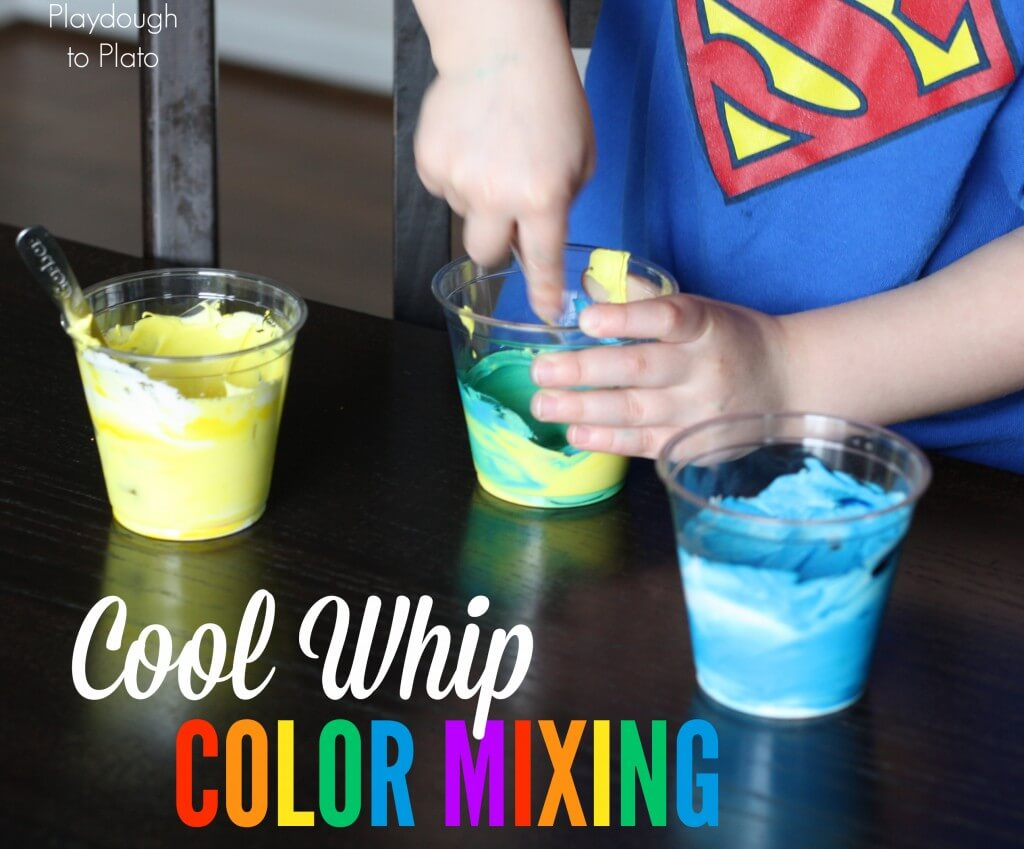 Fun way to help kids learn colors. Cool Whip Color Mixing! {Playdough to Plato}