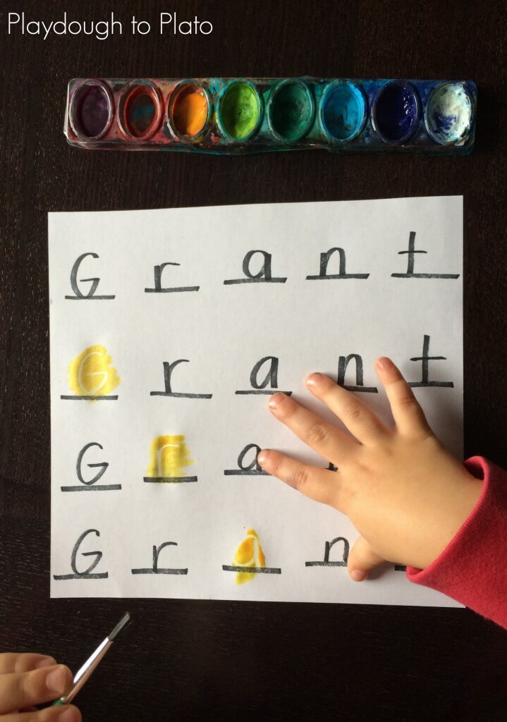 Magic Letters!! Low prep, fun name game for kids. {Playdough to Plato}