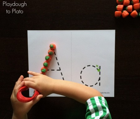 Pumpkin Letter Tracing. Super fun ABC game and fine motor activity for kids.