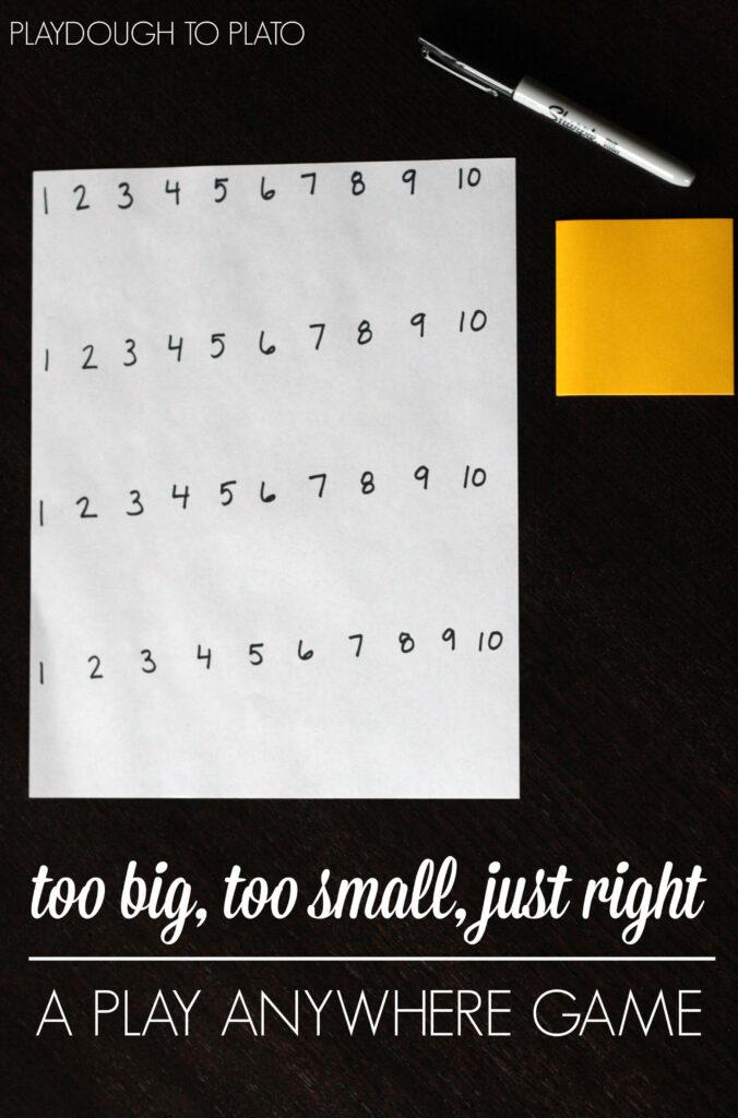 Fun, no prep math game for kids