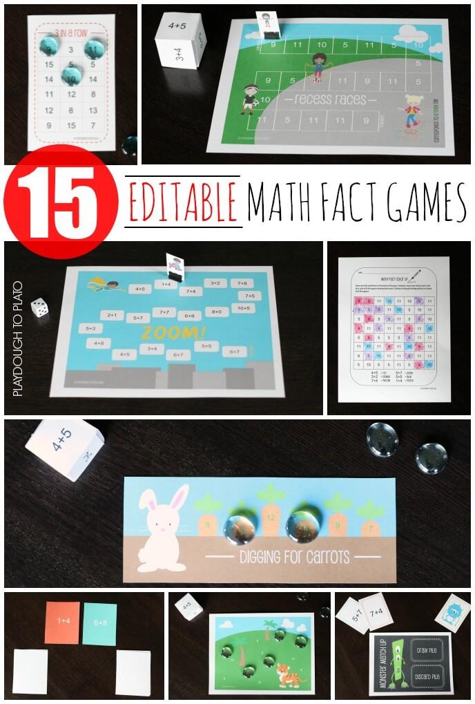 Huge time saver!! 15 editable math fact games.