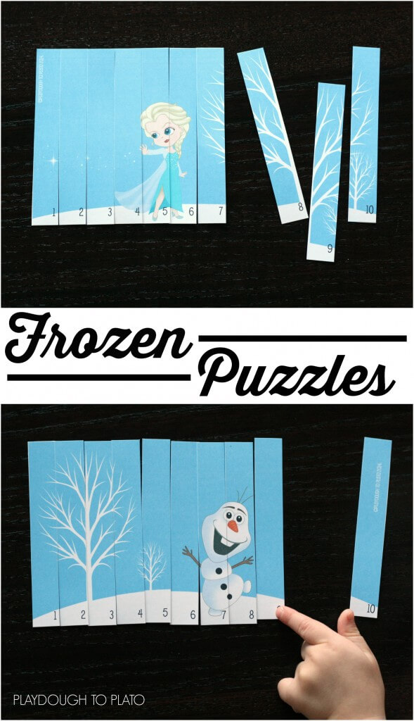 Love these!! DIY Frozen puzzles. Such an easy preschool center or busy bag.