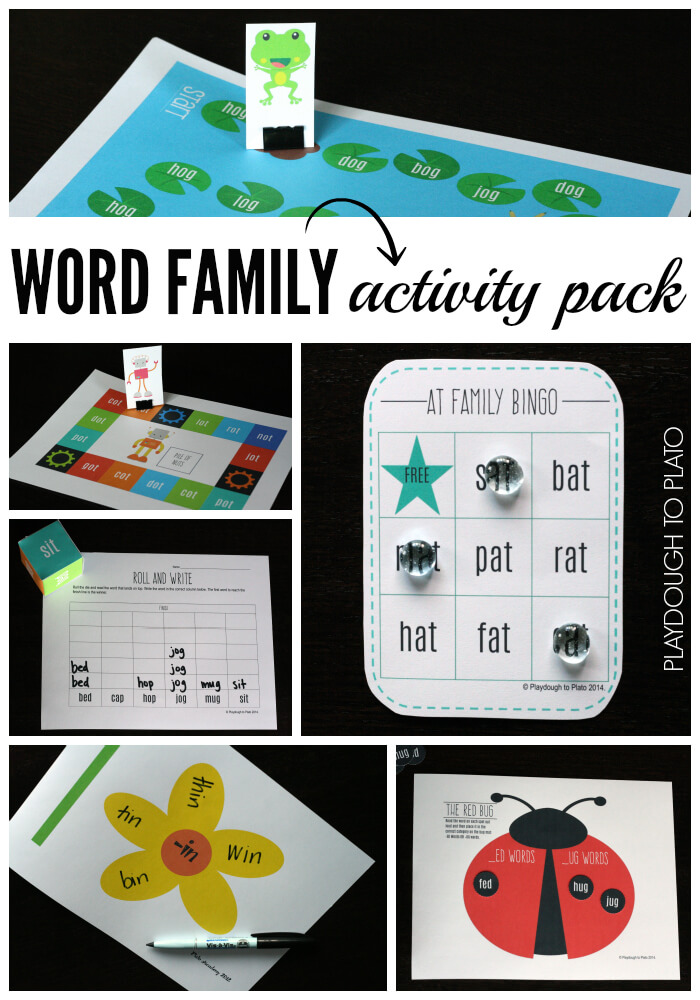 Uber Fun Word Family Activity Pack. {Playdough to Plato}