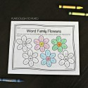 Write and color word family flowers!