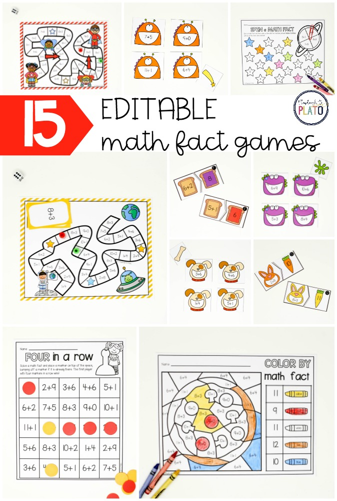 15 EDITABLE Math Fact Games