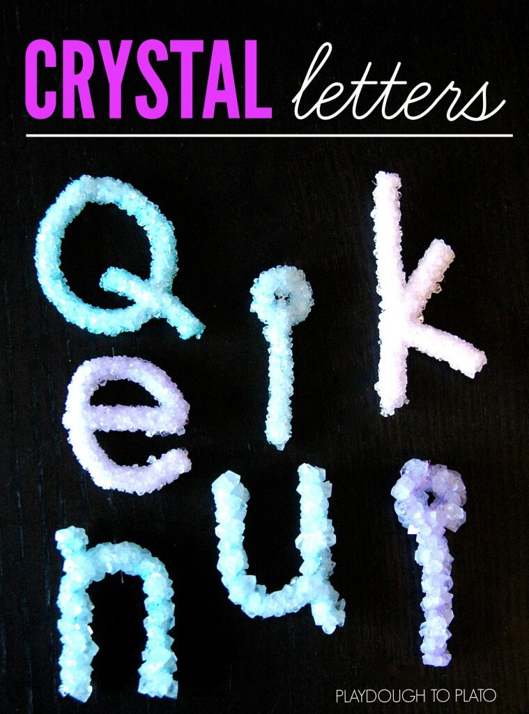 Brilliant! Make crystal letters in a jar. Such a fun way to help kids learn their name.
