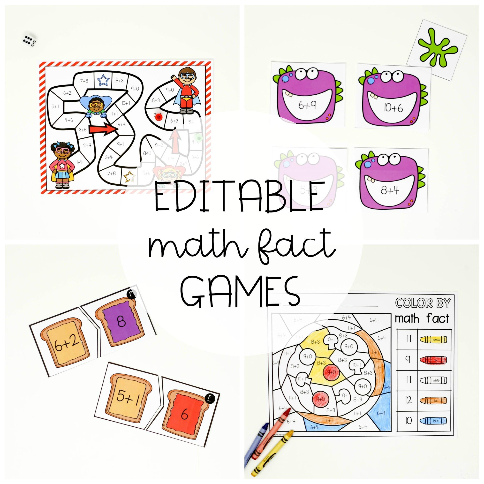 15 EDITABLE Math Fact Games
