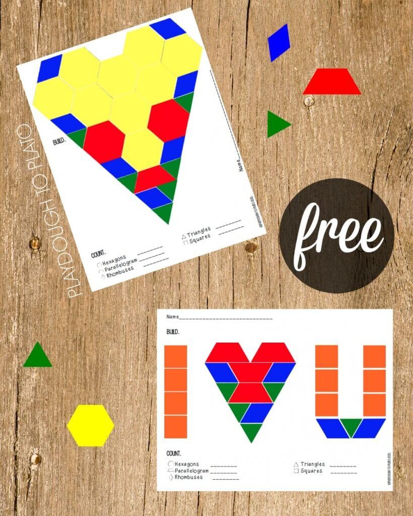 Free Valentine Pattern Block Mats