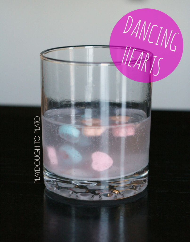 Simple and fun science experiment for kids. Make dancing conversation hearts!