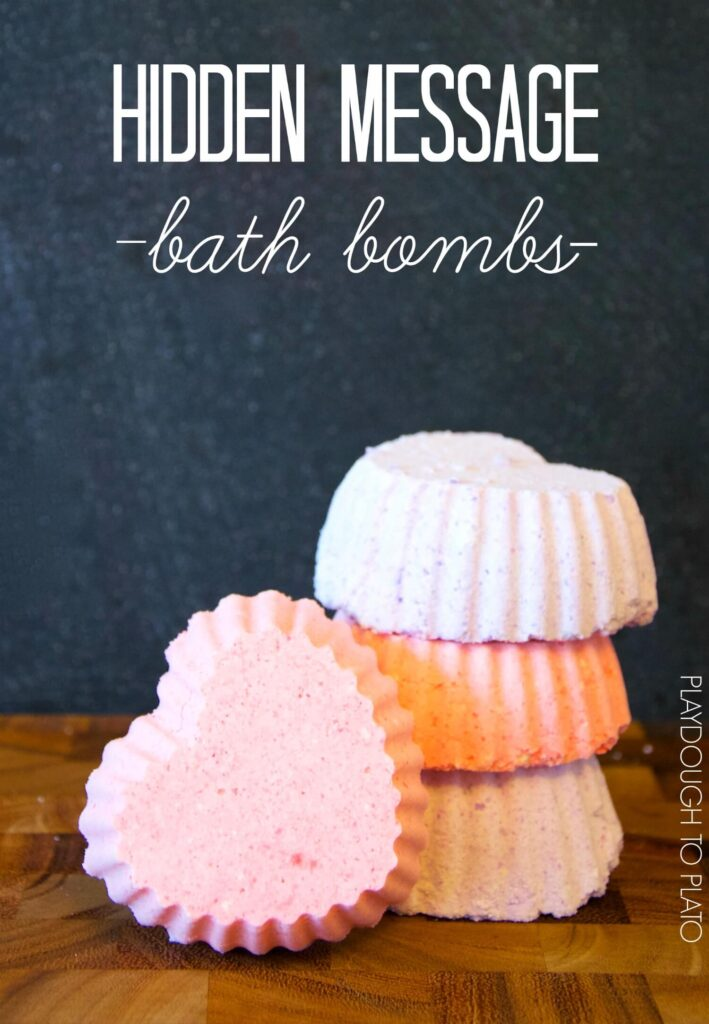 Awesome kid-made valentine. Hidden message bath bombs!