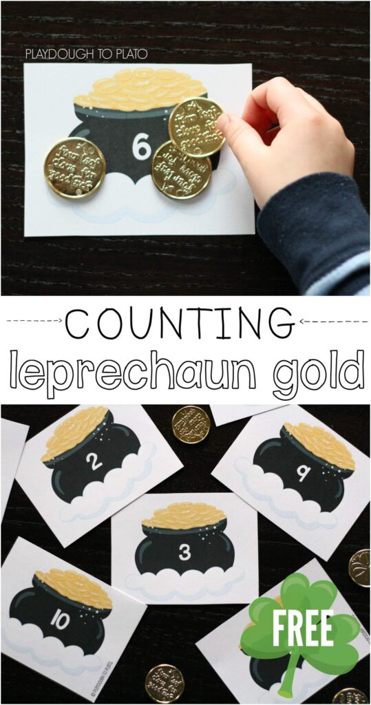 Counting Leprechaun Gold. FREE printable! {Playdough to Plato}