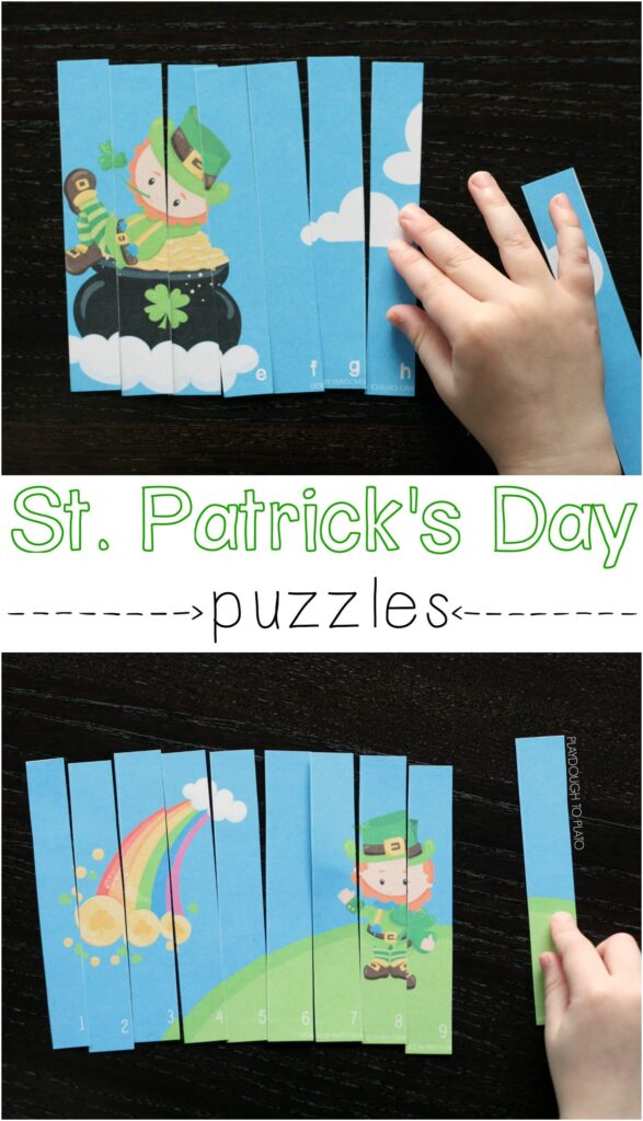 Fun St. Patricks Day puzzles. Hands-on way to practice ABC and 123 order.