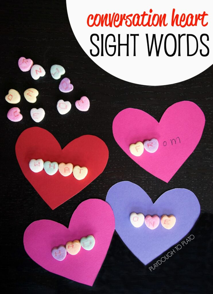 Fun conversation heart sight words!