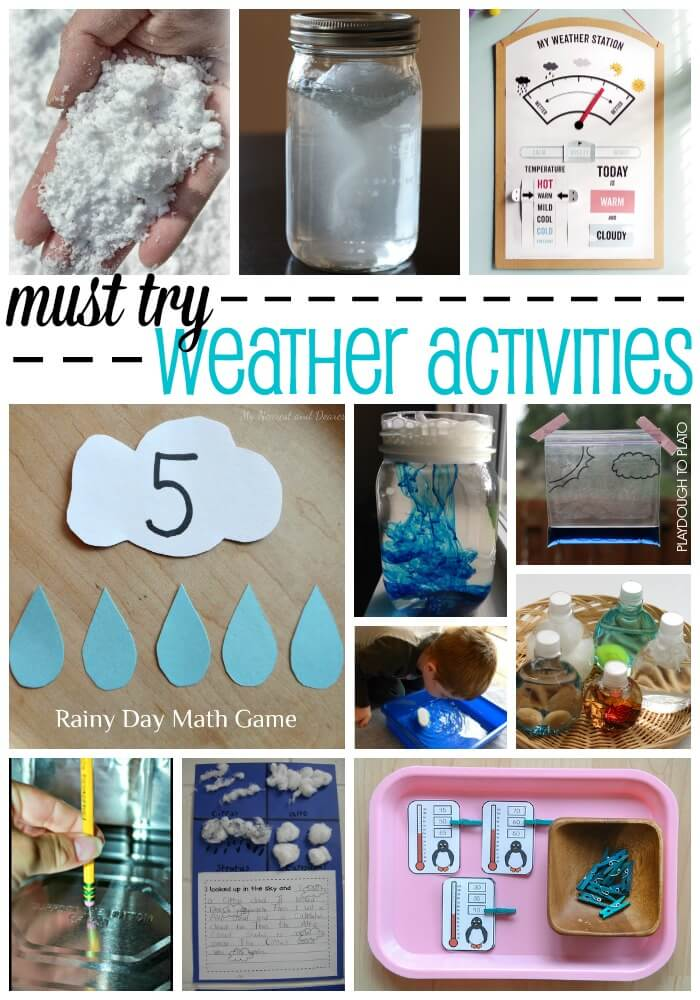 Must-try weather activities for kids. Fun ways to learn about clouds, snow, temperature... lots of things. Great for a weather unit!