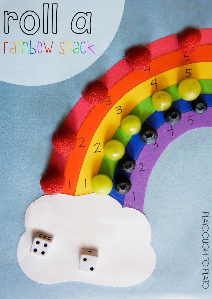 Such a fun preschool math game! Roll a rainbow snack!!