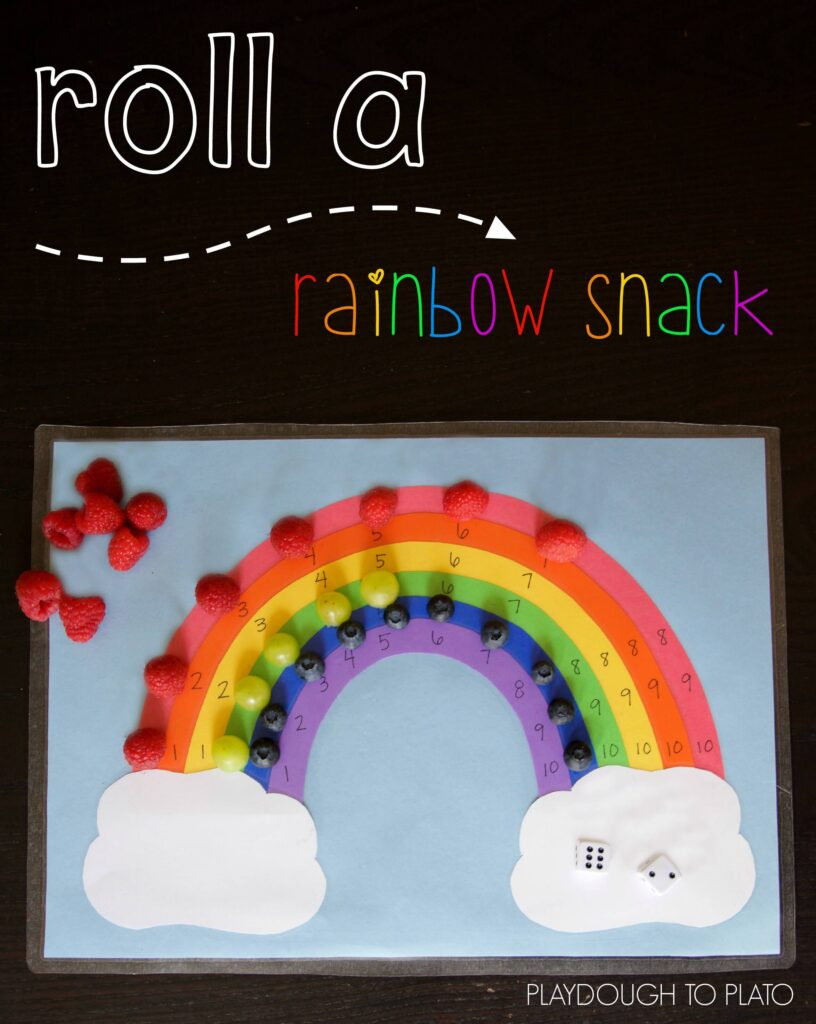 Super fun addition game for kids! Roll a rainbow snack.