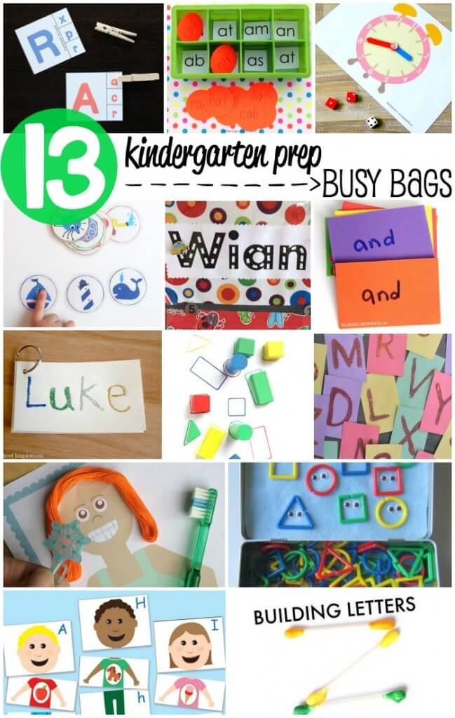 13 Kindergarten Prep Busy Bags